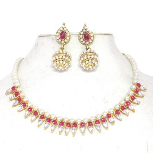 Beautiful Dark Pink Colored Gota Pearl Kundan Necklace Set