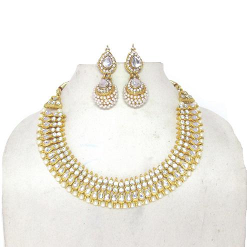 White Colored Tilak Pearl Double Gota Necklace Set