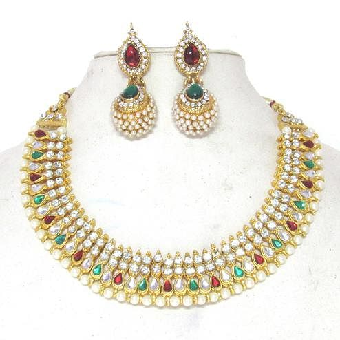 Maroon Green Colored Tilak Pearl Gota Necklace Set