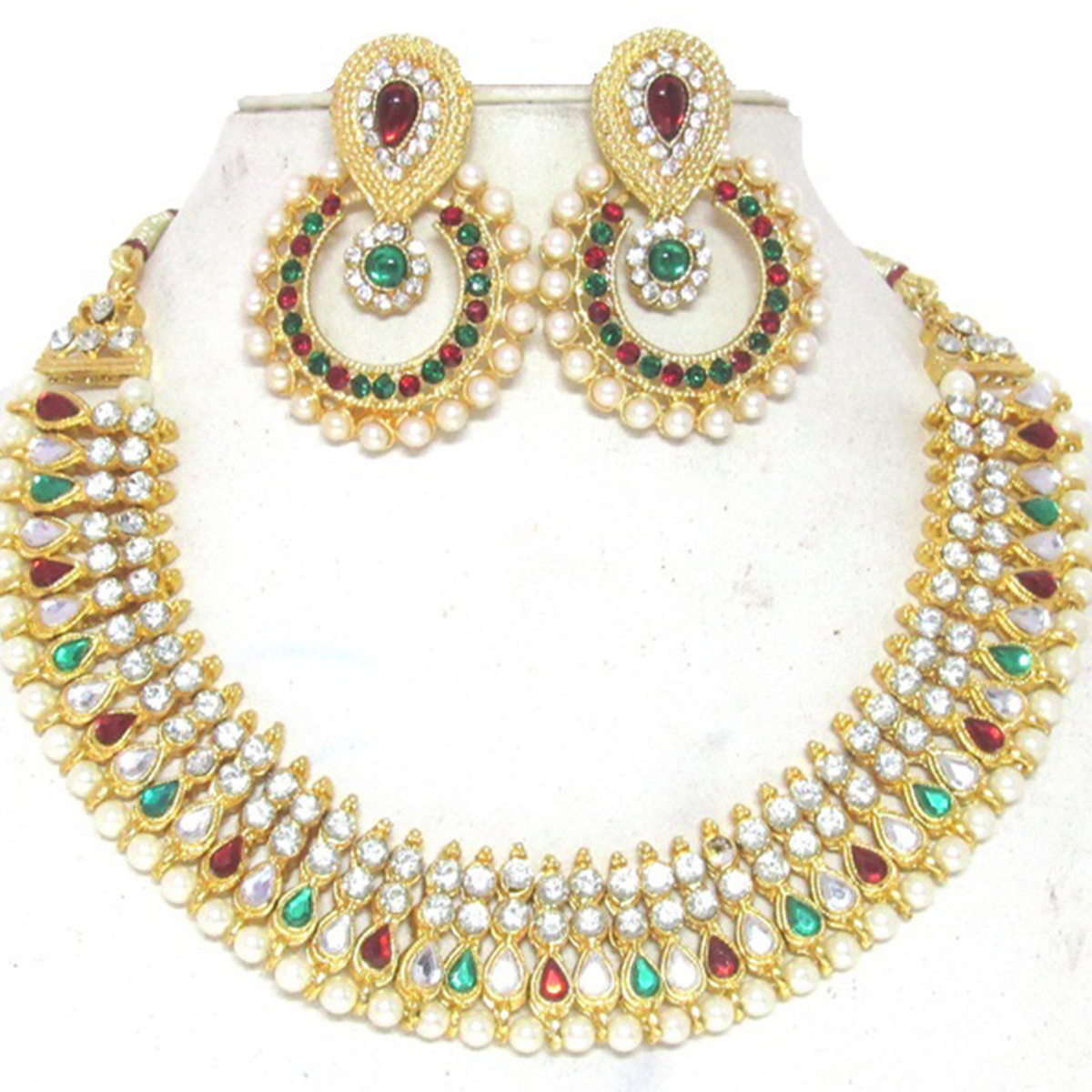 Maroon Green Colored Tilak Pearl Polki Necklace Set