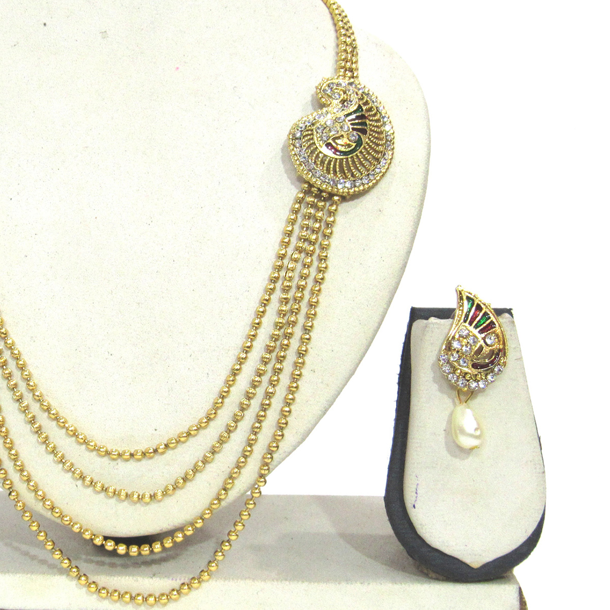 Golden Colored 4 Line Peacock Brooch Stone Necklace Set