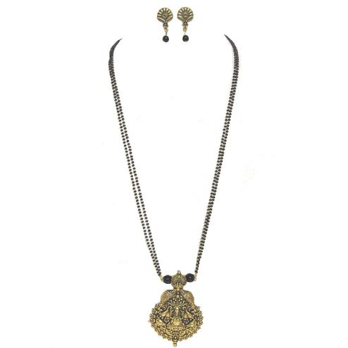 Black-Golden Colored Antique Laxmi Pendant Mangalsutra Set