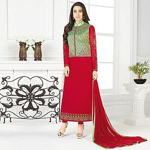 Lovely Red-Green Designer Embroidered Faux Georgette Salwar Suit