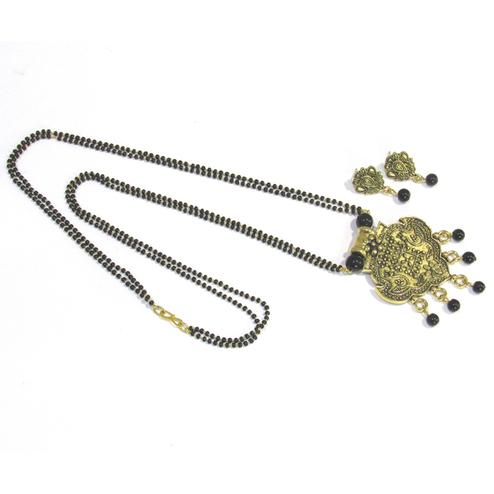 Black-Golden Colored Antique Drop Pendant Mangalsutra Set