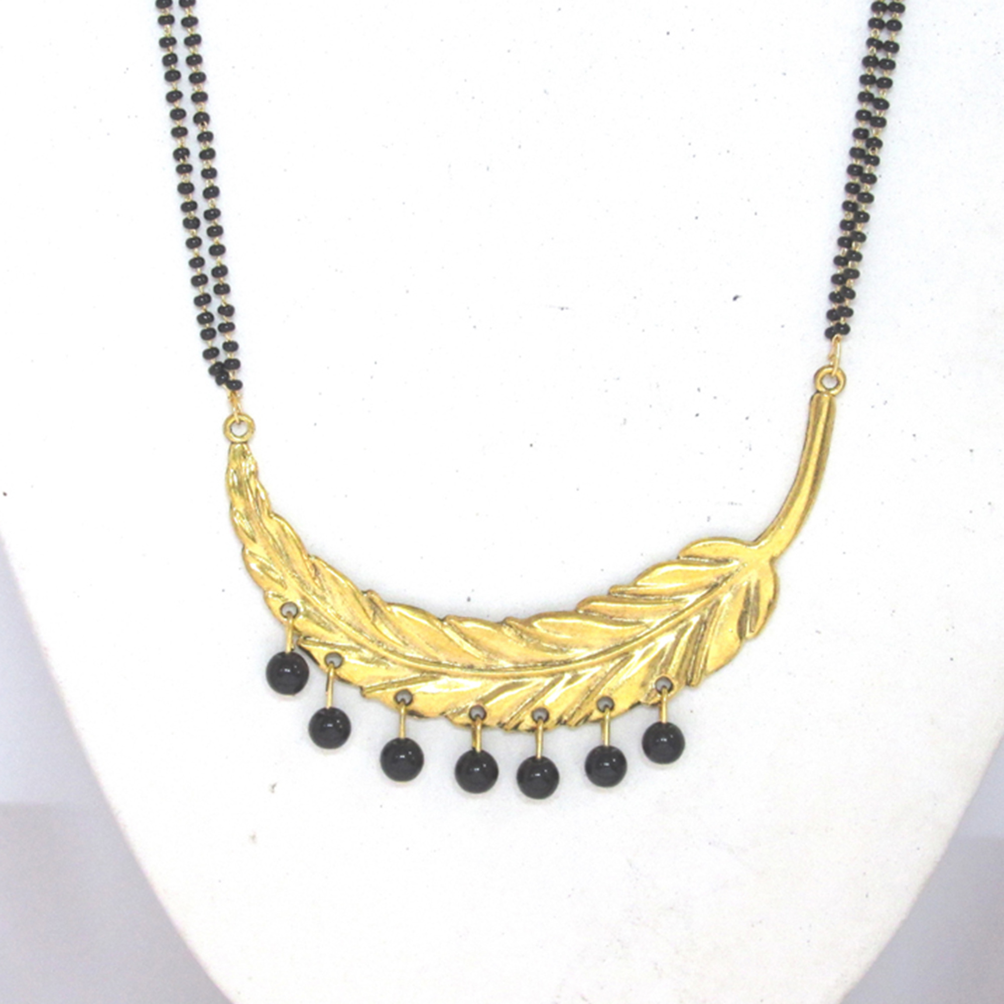 Black-Golden Colored Leaf Pendant Drop Mangalsutra Set