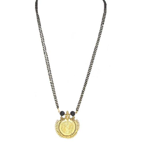 Black-Golden Colored Beautiful Sun Pendant Mangalsutra Set