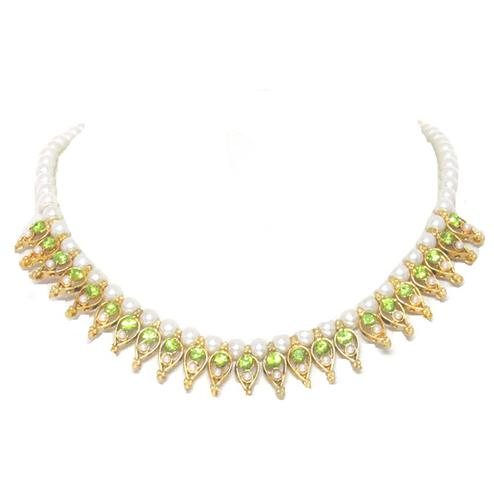 Parrot Green Colored Stone Pearl Leaf Necklace