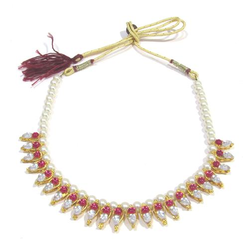 Pink Colored Pearl Necklace With Kundan Work