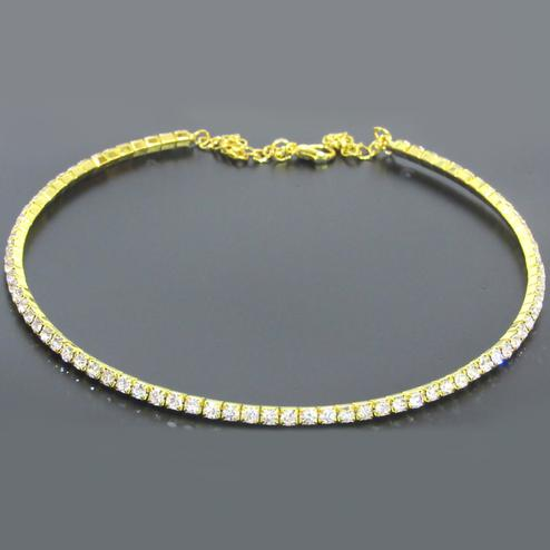 White Stone Single Line Golden Kada Necklace