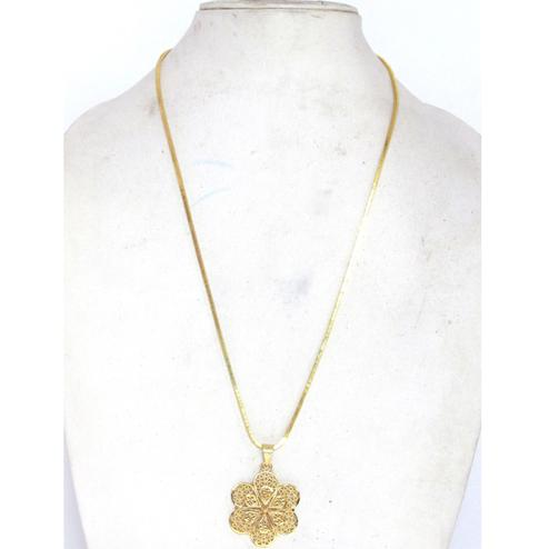 Golden Flower Pendant Chain Necklace