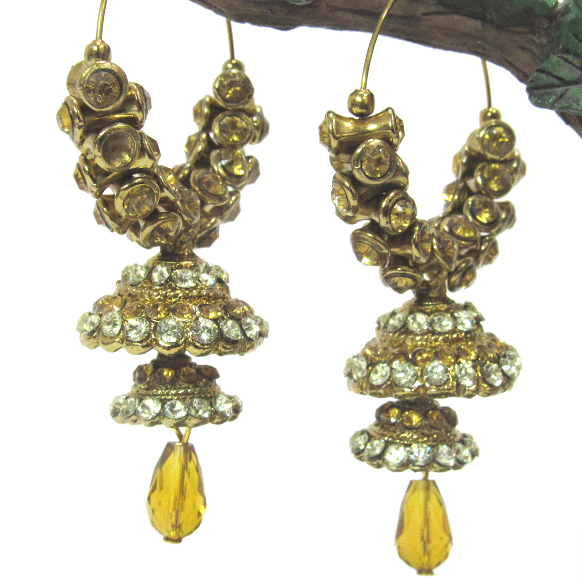 Golden Brown Colored Stone Double Jhumka Earring