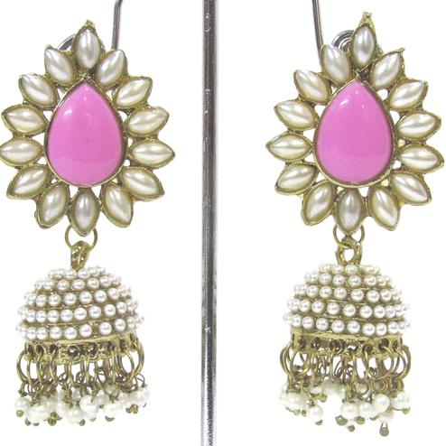 Pink Colored Aashiqui 2 Pearls Jhumka Earring