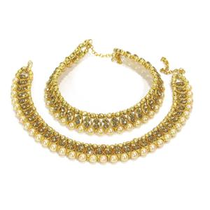 Golden Colored Stone Big Pearl Anklet