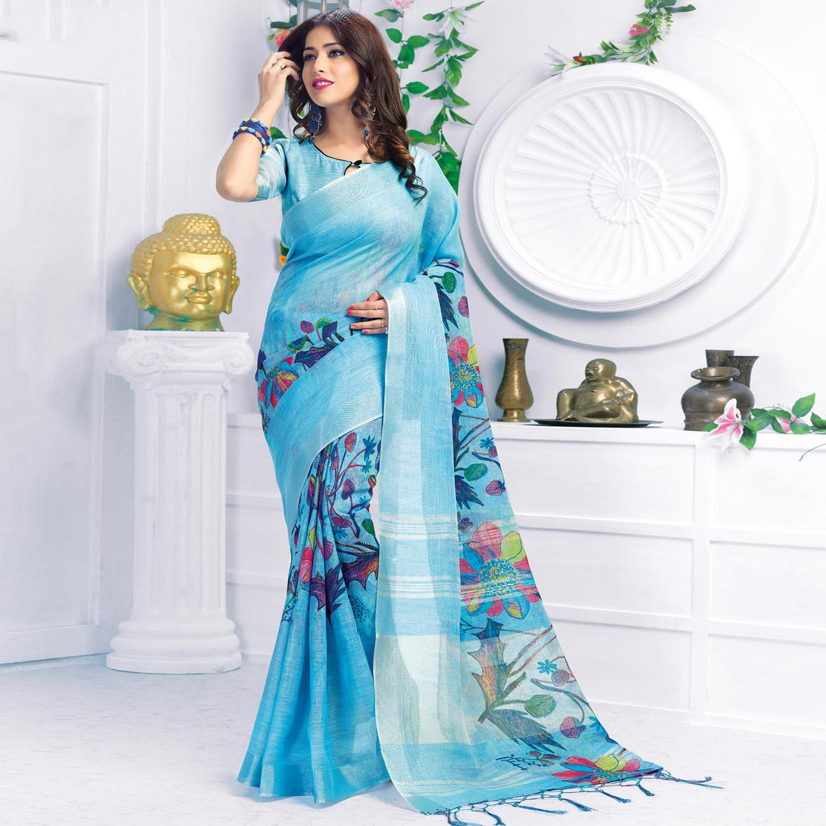 Refreshing Sky Blue Colored Casual Wear Printed Pure Linen Saree