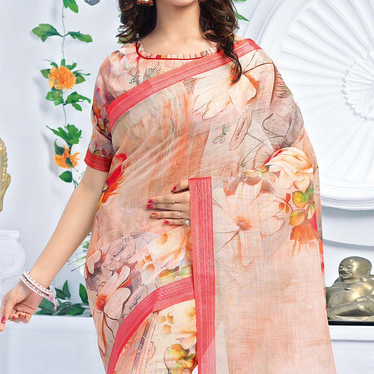 Magnetic Pastel Peach Colored Casual Wear Printed Pure Linen Saree