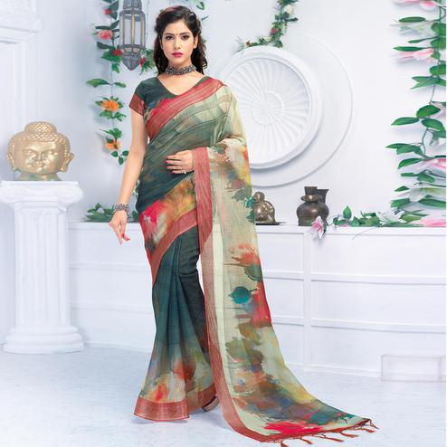Hypnotic Green Colored Casual Wear Printed Pure Linen Saree