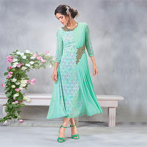 Elegant Green Designer Embroidered Faux Georgette Kurti
