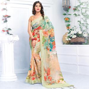 Elegant Multi Colored Casual Wear Printed Pure Linen Saree
