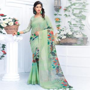 Excellent Pastel Green Colored Casual Wear Printed Pure Linen Saree