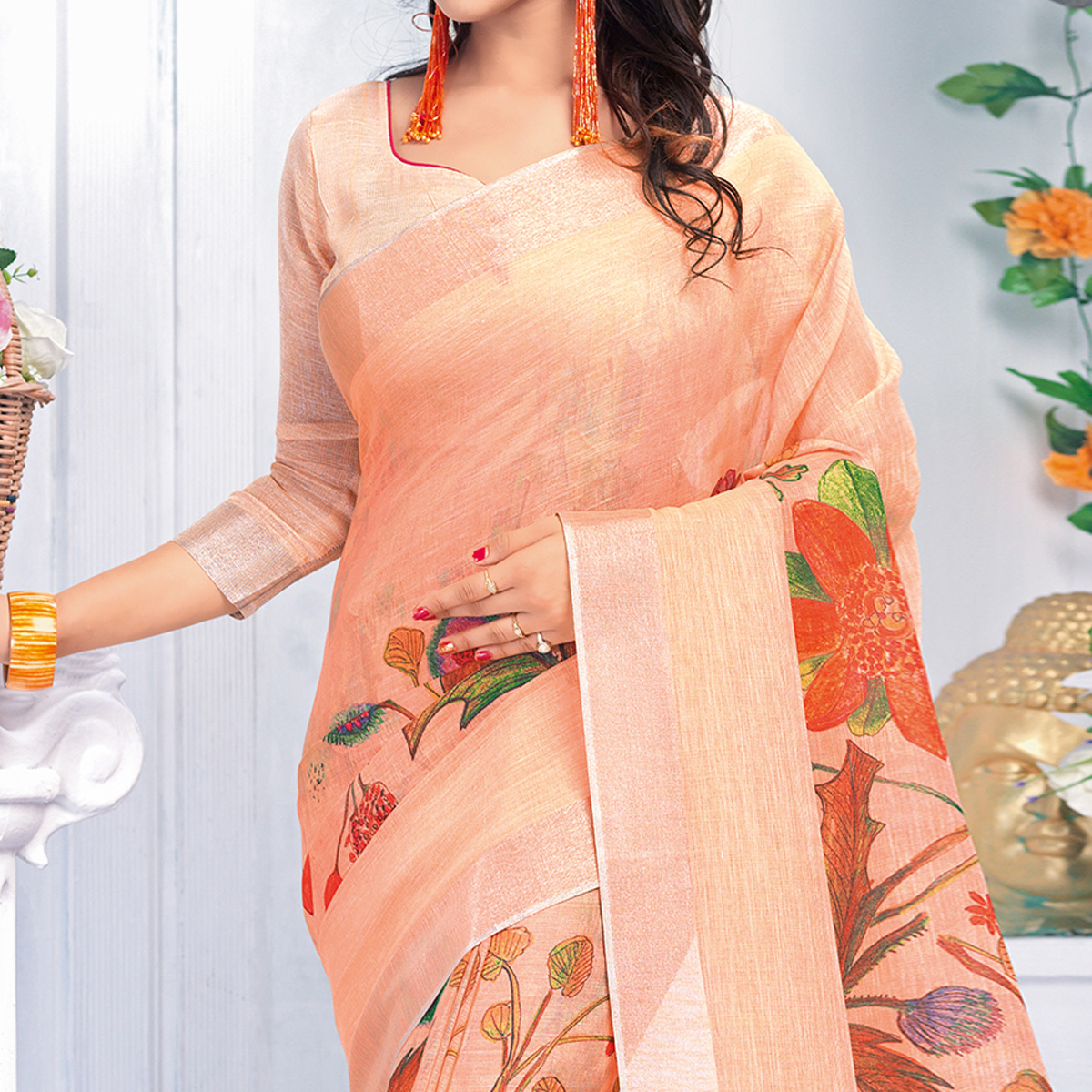 Breathtaking Peach Colored Casual Wear Printed Pure Linen Saree