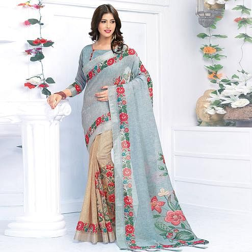 Impressive Grey - Light Brown Colored Casual Wear Printed Pure Linen Saree