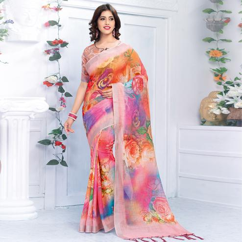 Flamboyant Multi Colored Casual Wear Printed Pure Linen Saree