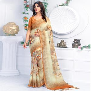 Ethnic Beige Colored Casual Wear Printed Pure Linen Saree