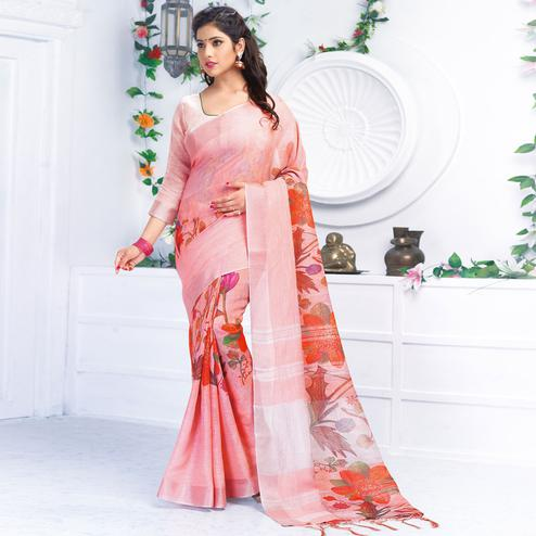 Alluring Pink Colored Casual Wear Printed Pure Linen Saree