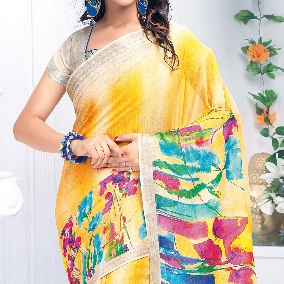Sensational Yellow Colored Casual Wear Printed Pure Linen Saree