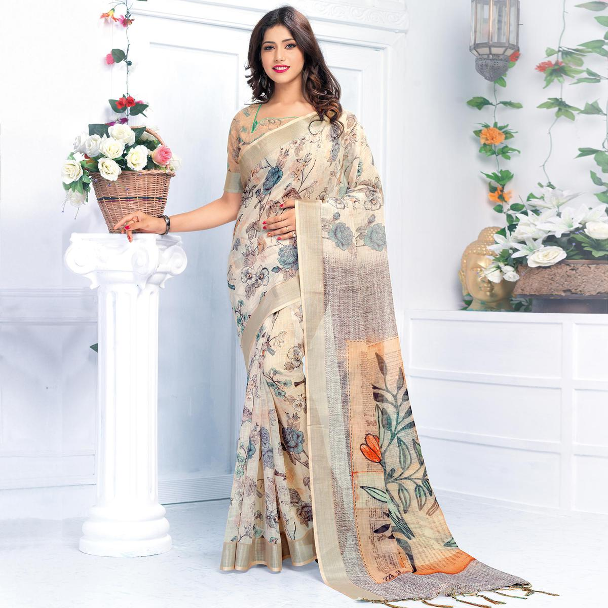Flaunt Off White Colored Casual Wear Printed Pure Linen Saree