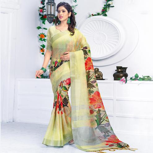 Dazzling Lemon Green Colored Casual Wear Printed Pure Linen Saree