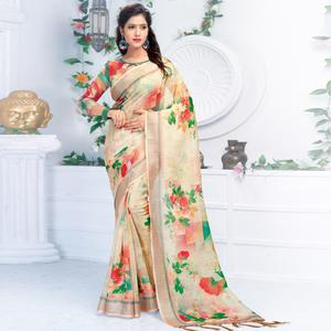 Flirty Cream Colored Casual Wear Printed Pure Linen Saree