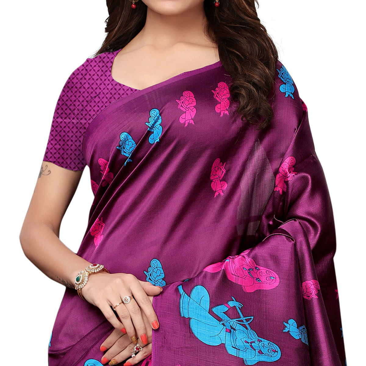 Adorable Wine Colored Festive Wear Printed Art Silk Saree