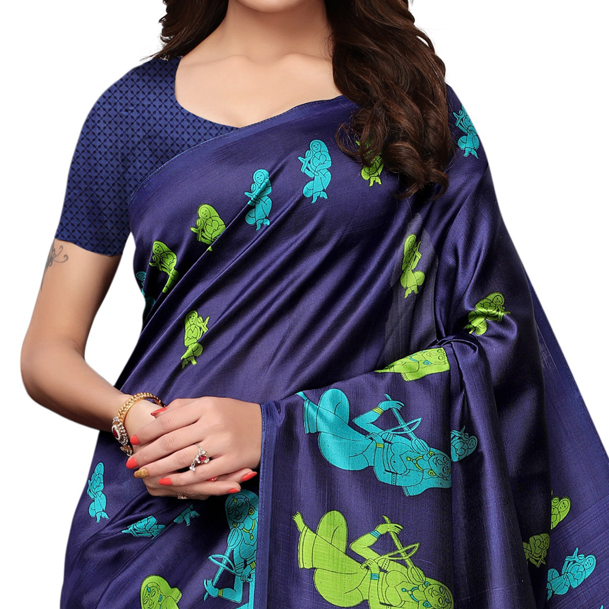 Jazzy Navy Blue Colored Festive Wear Printed Art Silk Saree