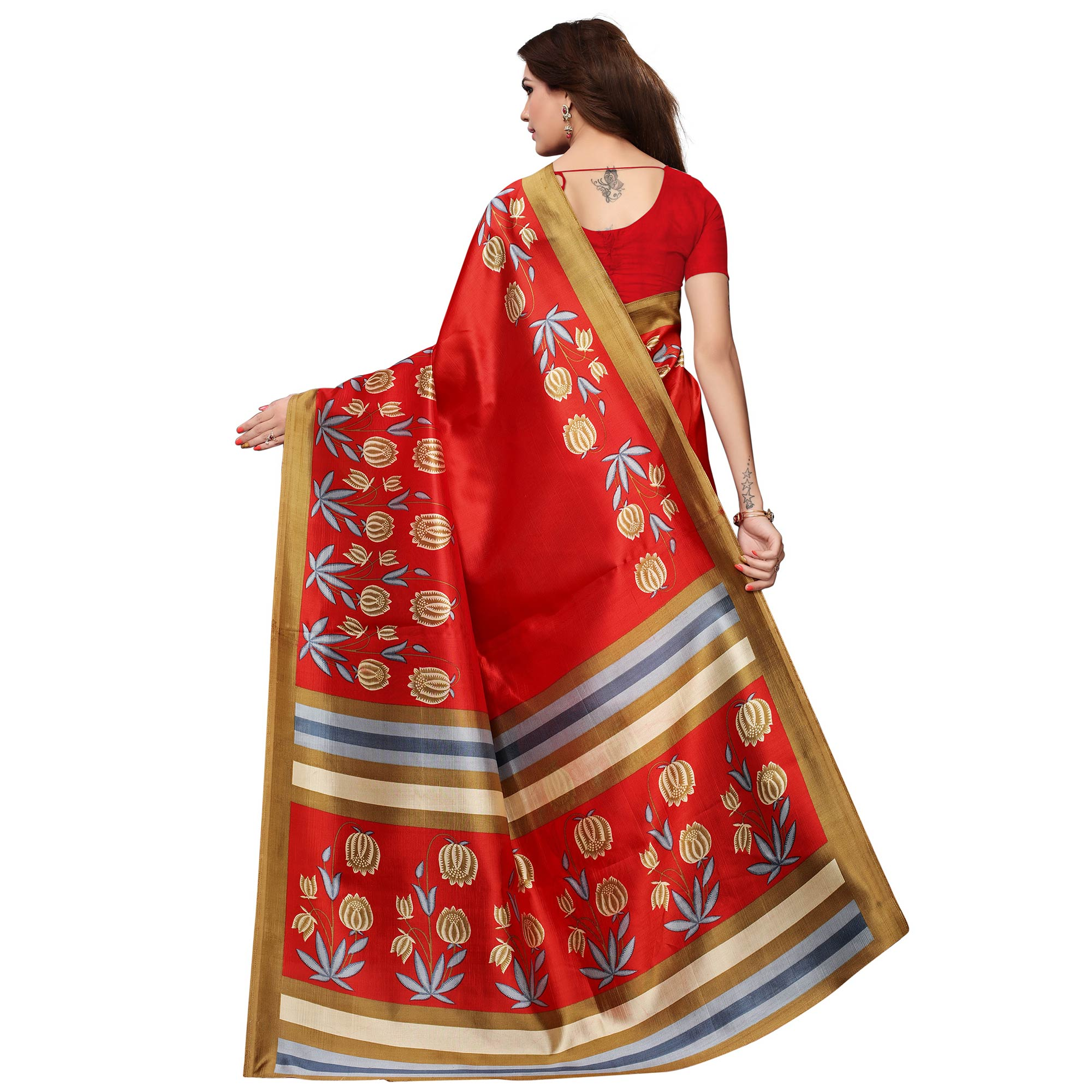 Arresting Red Colored Festive Wear Printed Art Silk Saree