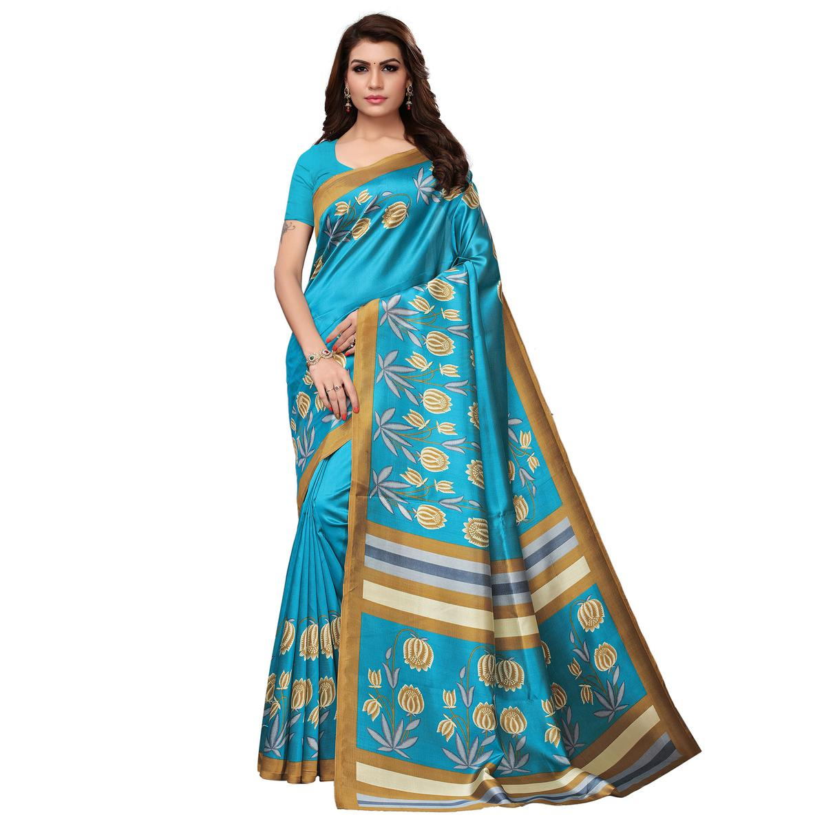 Attractive Sky Blue Colored Festive Wear Printed Art Silk Saree