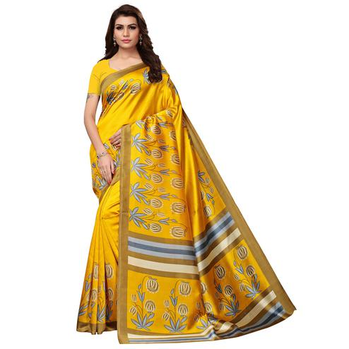 Desirable Yellow Colored Festive Wear Printed Art Silk Saree