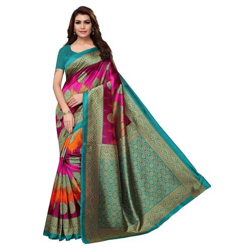 Starring Magenta Pink Colored Festive Wear Printed Art Silk Saree