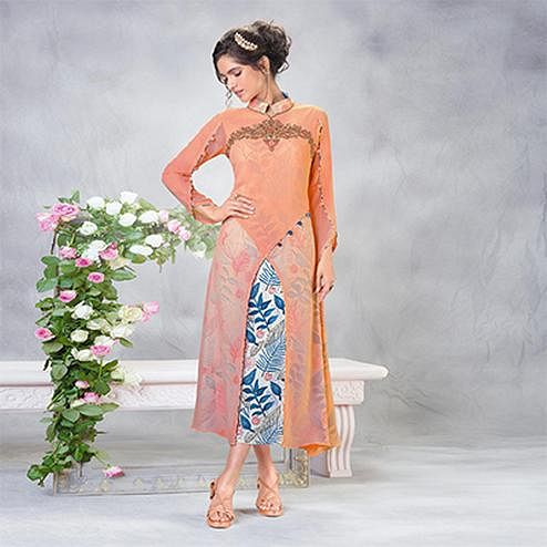 Stylish Orange Designer Embroidered Faux Georgette Kurti