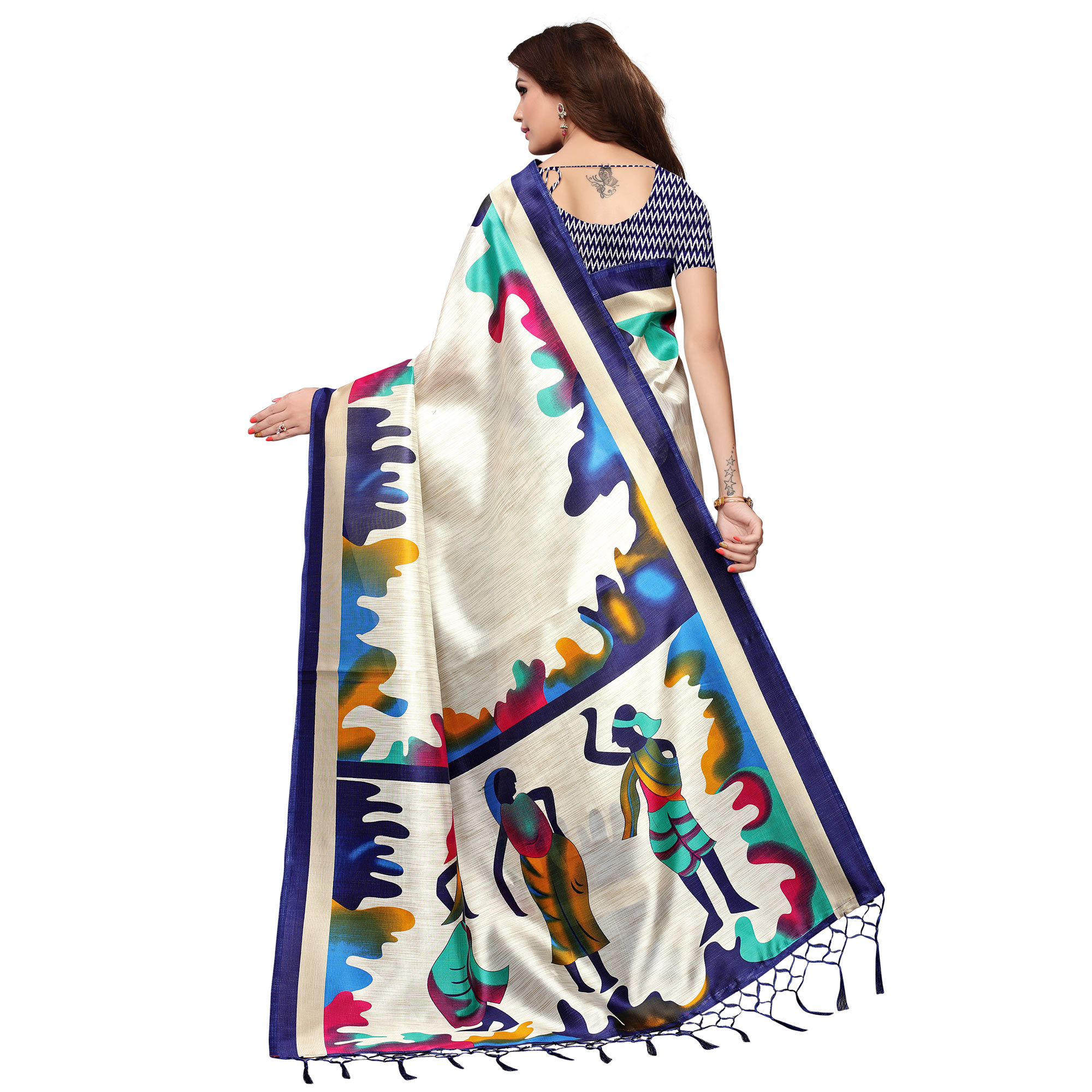 Desirable White - Navy Blue Colored Festive Wear Printed Mysore Silk Saree