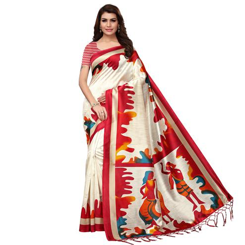 Starring White - Red Colored Festive Wear Printed Mysore Silk Saree