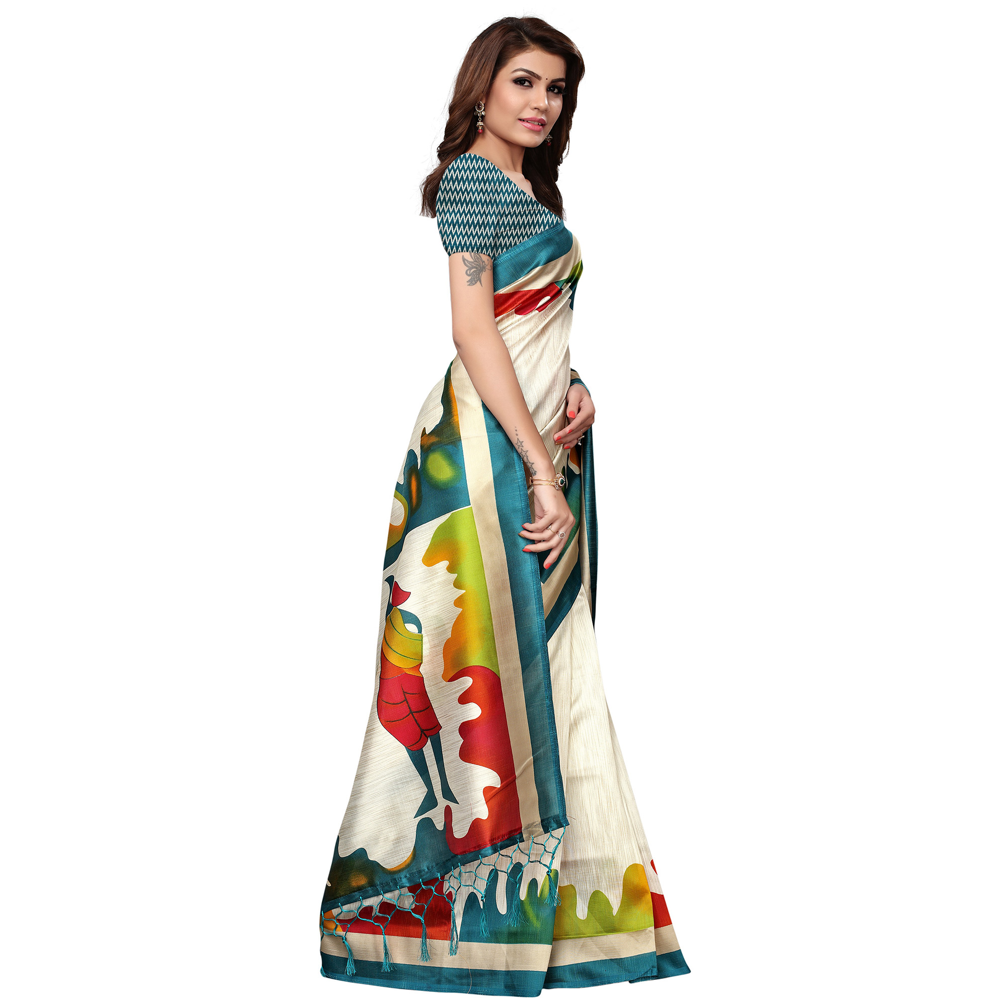 Trendy White - Sky Blue Colored Festive Wear Printed Mysore Silk Saree