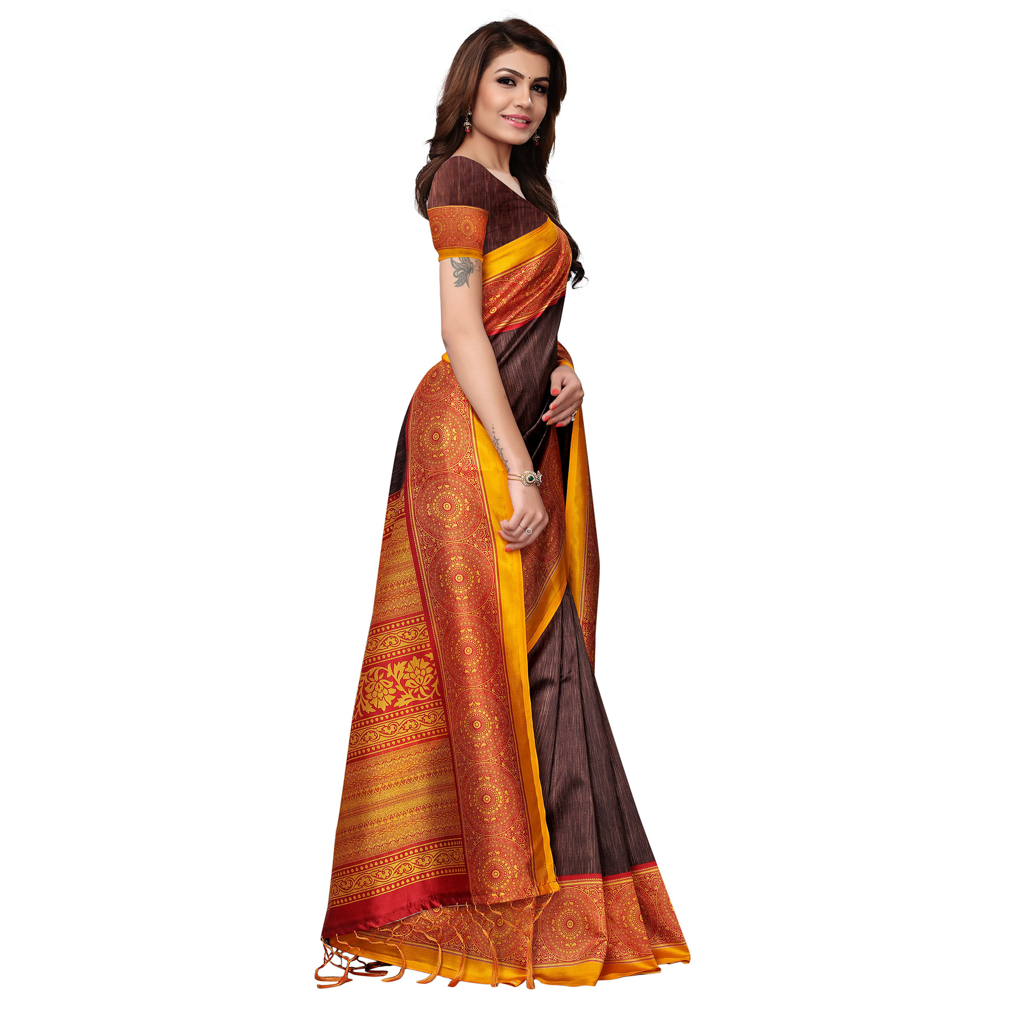 Flattering Brown Colored Festive Wear Printed Mysore Silk Saree