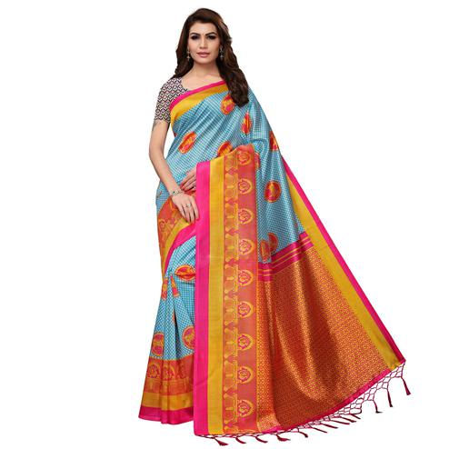 Radiant Sky Blue Colored Festive Wear Printed Mysore Silk Saree