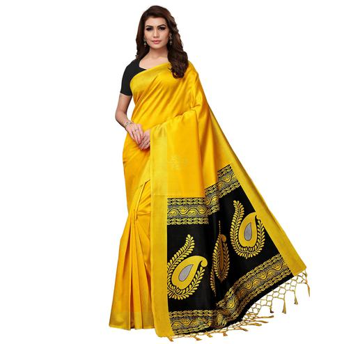 Pleasant Yellow Colored Festive Wear Printed Mysore Silk Saree