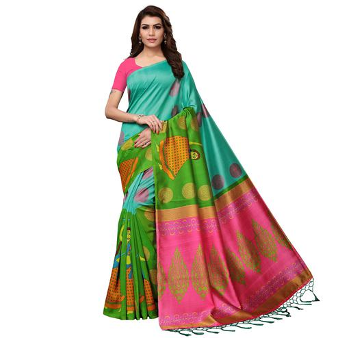 Opulent Multi Colored Festive Wear Printed Mysore Silk Saree