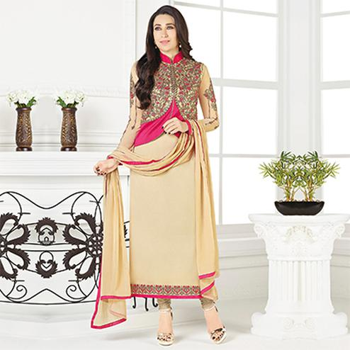 Regal Beige-Pink Designer Embroidered Faux Georgette Salwar Suit