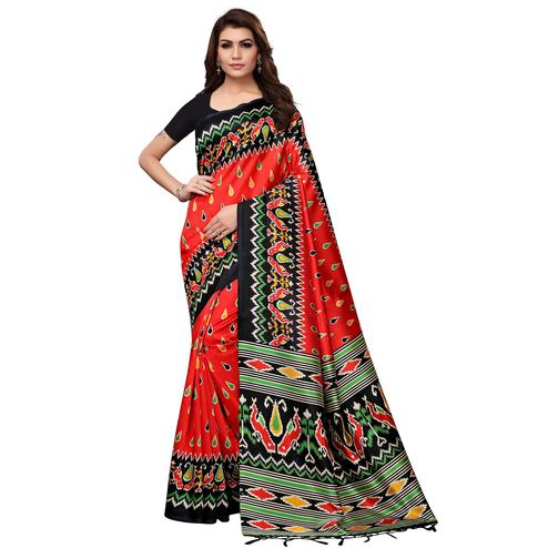 Energetic Red Colored Festive Wear Printed Mysore Silk Saree
