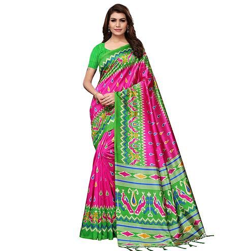Exceptional Pink Colored Festive Wear Printed Mysore Silk Saree