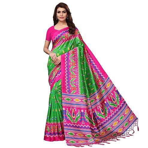 Gleaming Green Colored Festive Wear Printed Mysore Silk Saree